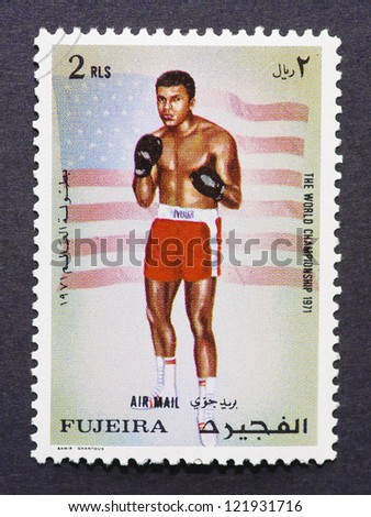FUJAIRAH - CIRCA 1971: a postage stamp printed in Fujairah one of the Emirates of the Union Arab Emirates showing an image of Muhammad Ali, circa 1971.