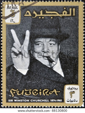 FUJERIA - CIRCA 1965: A stamp printed in Fujeira shows image of sir winston churchil, 1874-1965, circa 1965