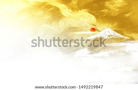 Fuji and the sunrise Fuji and the sunrise(Golden Japanese style background)