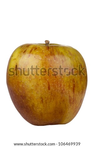 Fuji apple beginning to decay isolated on a white background.