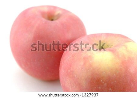 Fuji apples in isolated white