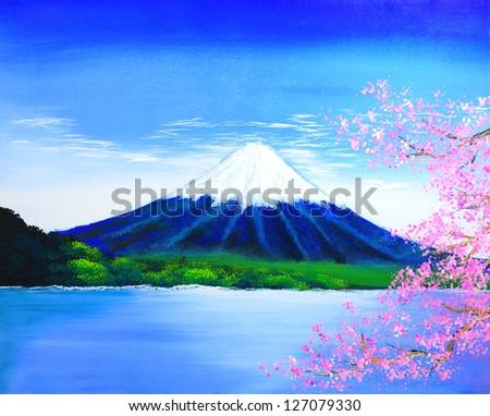Fuji mountain painting