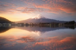 Fuji mountain reflection on water with sunrise landscape,Fuji mountain at kawaguchiko lake, Japan