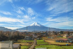 Fuji Mountain with farm in foreground, Japan
