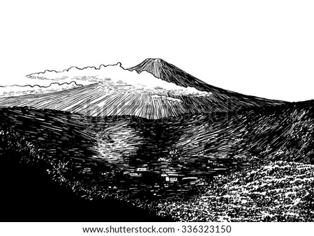 Fuji view. Black and white dashed style sketch, line art, drawing with pen and ink. Retro vintage picture.