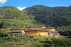 Fujian Tulou or Hakka Tulou at Tianluokeng, the most famous Earthen buildings (Chinese rural dwelling, Earth dwelling) in Fujian China. World heritage site. (Ancient Chinese Condominium, Apartment)