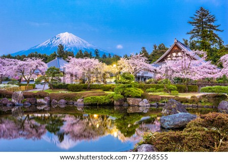 Fujinomiya, Shizuoka, Japan with Mt. Fuji and temples in spring season.
