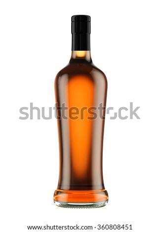 Full alcohol whiskey, cognac, brandy bottle isolated on white background. 3D Mock up for you design. #360808451