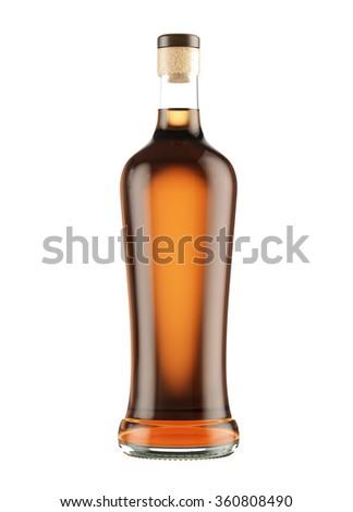 Full alcohol whiskey, cognac, brandy bottle isolated on white background. 3D Mock up for you design. #360808490