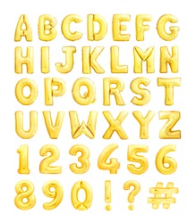Full alphabet and numbers set made of golden inflatable balloons isolated on white background
