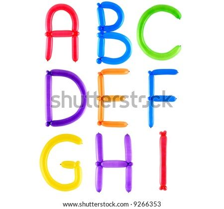 Full Alphabet Made Of Color Twisted Balloons – Letters – Part 1