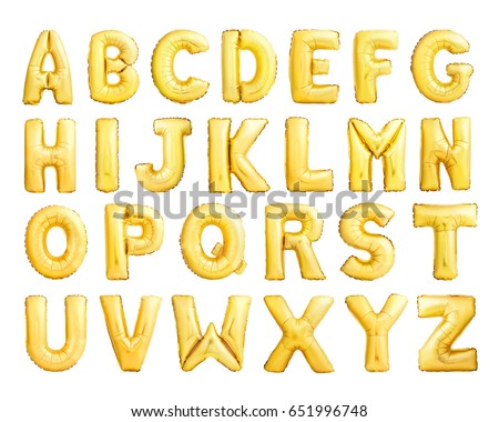 Full alphabet of golden inflatable balloons isolated on white background