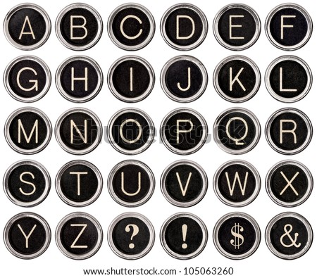 Full alphabet of vintage typewriter keys including dollar sign, ampersand, exclamation and question marks.  Each key is isolated on white with clipping path.