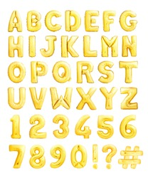 Full alphabet with numbers and symbols made of golden inflatable balloons isolated on white background