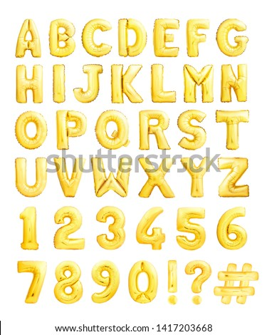 Full alphabet with numbers and symbols made of golden inflatable balloons isolated on white background #1417203668