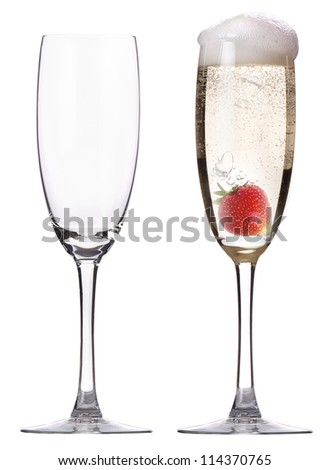 full and empty glass of champagne with strawberry isolated on a white background