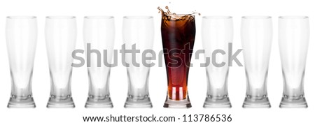 full and empty glass of fresh coke isolated on a white background.leader concept