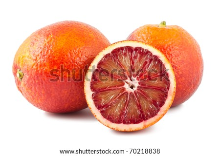 Full and two half of blood red oranges isolated on white background