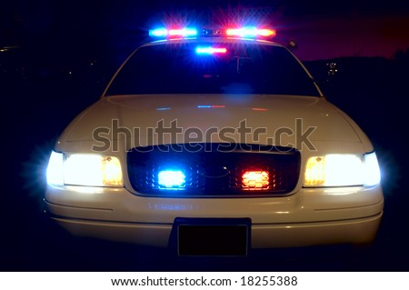 Full array of police car lights.