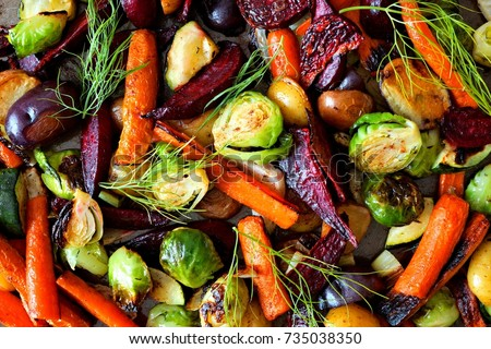 Full background of roasted colorful autumn vegetables, above view #735038350