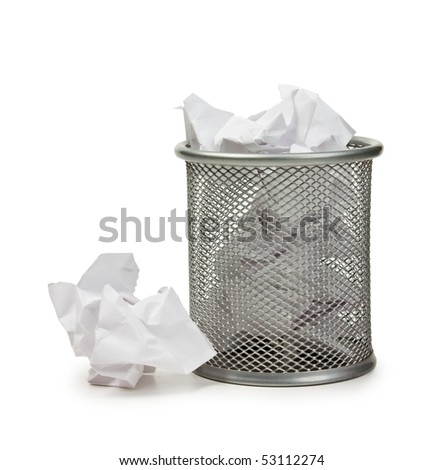 full basket of paper isolated on white background