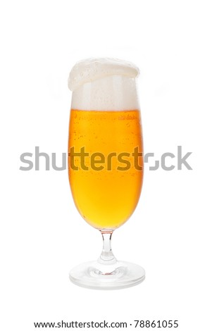 Full beer glass with foam isolated on white background.