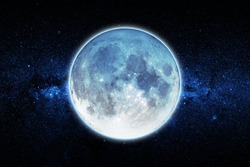 Full blue moon with star night sky background, Elements of this Image Furnished By NASA. Concept science, space, romantic.