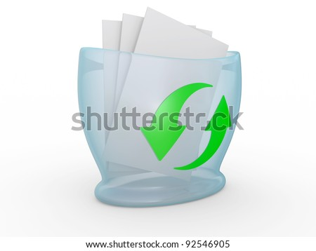 Full blue recycle bin on a white background