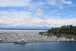 Full Boatyard with blue sky in Seattle
