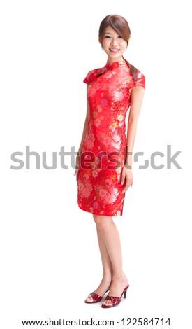 Full body abundance chinese girl in traditional Chinese cheongsam, isolated on white background