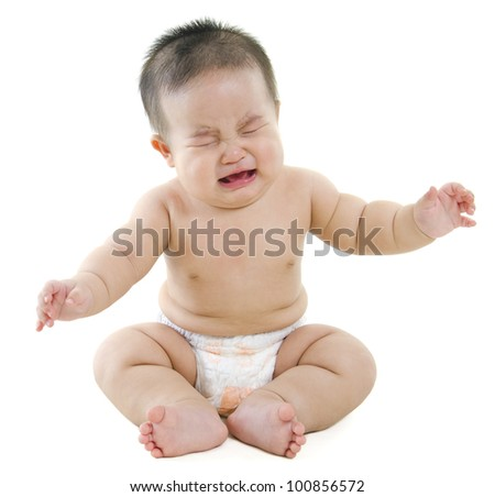 Full body Asian baby boy crying on white background