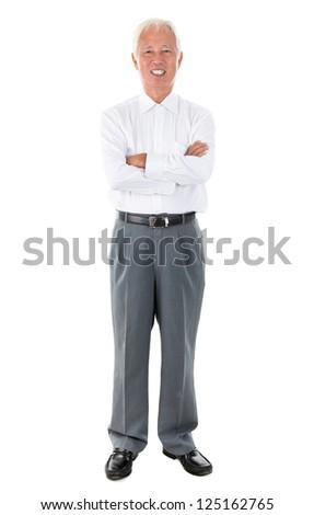 Full body Asian senior businessman standing isolated white background