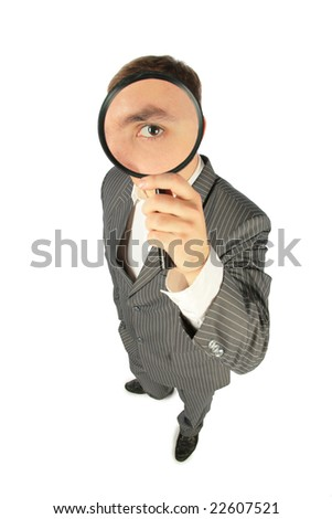 full body businessman with magnifying glass