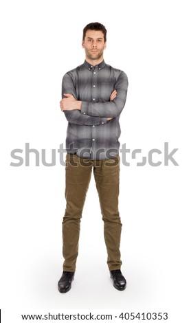 Full body Caucasian man standing isolated on white background #405410353