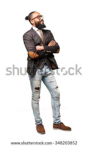 full body cool black man standing