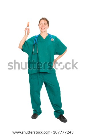 full body image of a female nurse or doctor with stethoscope around neck and holding a large syringe,  isolated on white