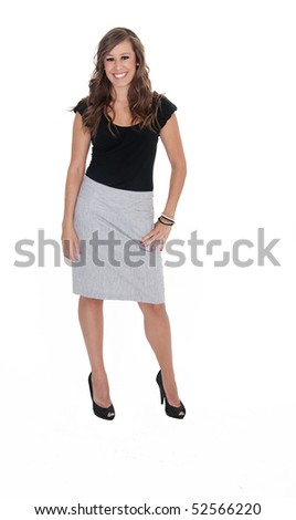Full body isolated photo of attractive young woman wearing formal business clothing. - stock photo