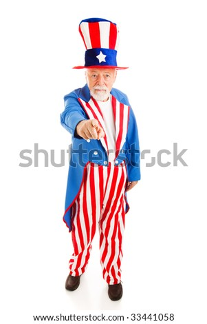 Full body isolated view of American icon Uncle Sam in the classic I Want You pose.