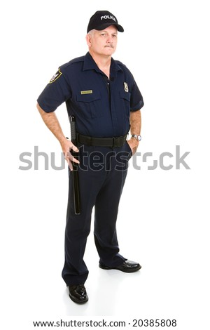 Full body isolated view of mature police officer