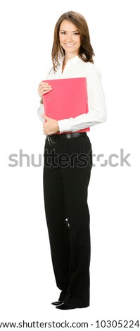 Full body of happy smiling business woman with red folder, isolated over white background