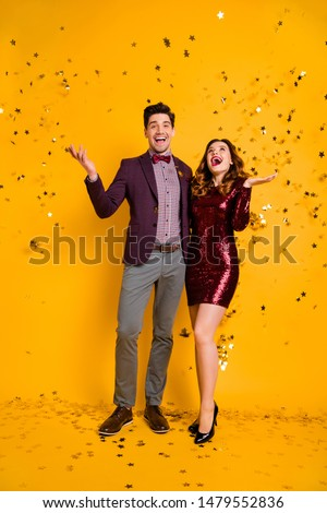 Full body photo of pretty lady guy impressed scream wow omg unbelievable wavy curly hairstyle isolated over yellow background
