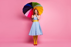 Full body photo surprised cute pretty woman hold shine umbrella hear incredible black friday novelty scream wow omg enjoy rainy weekend wear blue headband pantyhose isolated pink color background