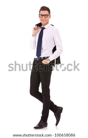 full body picture of a happy young bussiness man with coat on shoulder isolated on white background