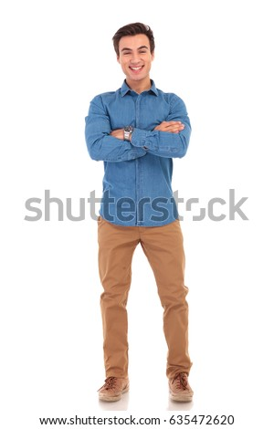 full body picture of a laughing casual man with hands crossed on white background