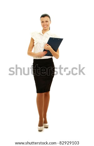 Full-body portrait of a happy business woman holdinga card looking at camera  Isolated on white background