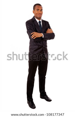 Full body portrait of a successful African young business man, isolated on white
