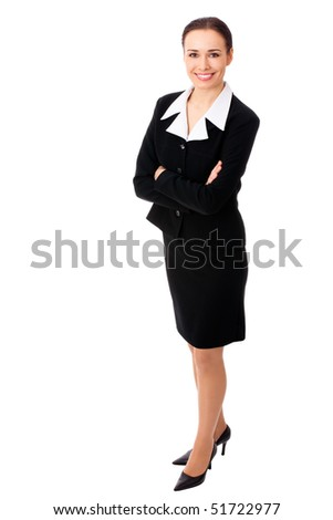 Full-body portrait of businesswoman, isolated on white