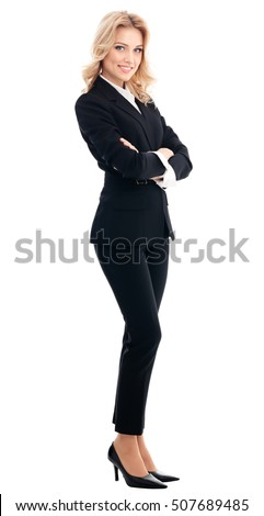 Full body portrait of happy smiling beautiful young businesswoman, isolated on white background. Caucasian blond model in business success concept.