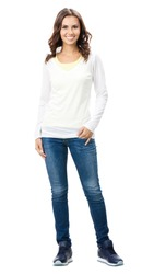 Full body portrait of happy smiling beautiful young woman, isolated over white background