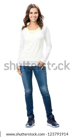 Full body portrait of happy smiling beautiful young woman, isolated over white background - stock photo